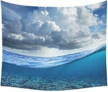 Asiatische Japanische Home Decor Wandteppiche Wand Kunst, Big Wave Full Moon Wandteppich für Art Sets 152,4 x 129,5 cm, Textil, Multi 15, 60 X 51 inch