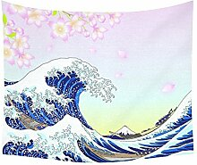 Asiatische Japanische Home Decor Wandteppiche Wand Kunst, Big Wave Full Moon Wandteppich für Art Sets 152,4 x 129,5 cm, Textil, Multi 7, 60 X 51 inch
