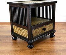 Asiatische Kommode, Nachtschrank aus Massivholz mit Rattanverzierungen, Asia Möbel der Marke Asia Wohnstudio, verziert im Kolonialstil, (Nr.1)