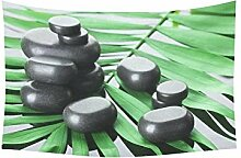 Asiatische Kultur Home Decor Wand Art, Jungle Palm Tree Zen Stone Wandteppich für Art Sets 203,2 x 152,4 cm, Textil, weiß, 60 X 40 inch