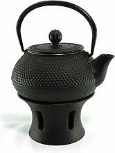 Asiatische Teekanne 0,8L Gusseisen mit Stövchen