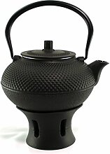 Asiatische Teekanne 1,5L Gusseisen schwarz mit