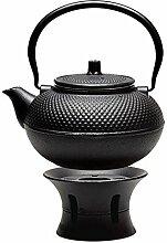 Asiatische Teekanne & Rechaud Gusseisen 1,5 L /