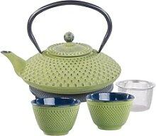 Asiatische Teekanne, Untersetzer und 2 Becher aus