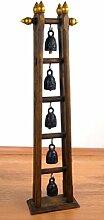 Asiatisches Glockenspiel mit 5 Glocken Bronze