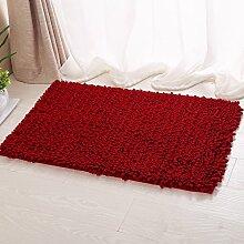 ASIBG Home Boden Mat Hauseingang Bad Wohnzimmer Schlafzimmer Badematte Saugfähig Duschmatte Teppiche, Teppich, weinrot, 70*140cm