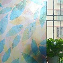 ASIBG Home Glas Film Fenster Aufkleber Bad Fenster Aufkleber Transparent Milchglas dekoratives Papier, matt, Sonnenschutz Folie Isolierung Fenster 0,9 M * 2 M, bunte Blätter