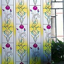 ASIBG Home Glas Film Fenster Aufkleber Bad Fenster Aufkleber Transparent Milchglas dekoratives Papier, matt, Sonnenschutz Folie Isolierung Fenster 0,9 M * 2 M, Rose