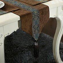 ASIBG Home Klassische Moderne gehobenen Luxus Tischläufer Tischläufer Couchtisch Esstisch Läufer, Braun, 33 * 170 cm