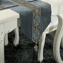 ASIBG Home Klassische Moderne upscale Tischläufer Tischläufer Couchtisch Esstisch Läufer, grau-blau, 33 * 125 cm