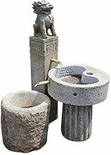 Asien Lifestyle Drachen-Brunnen aus Naturstein