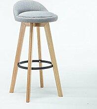 ASL Bar Stühle, hohe Hocker Kreative Stühle Rückenlehne Stuhl Massivholz Retro Rotation Einfache Café Club Outdoor Esszimmer H82cmxW49cm Neu ( Farbe : A )