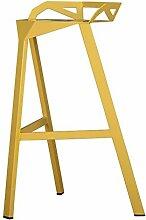 ASL Bar Stühle, Retro Eisen Bar Hocker Hohe Bar Hocker Geometrie Bar Stuhl KTV Bar Theme Stuhl 65-75cm hoch Neu ( Farbe : Gelb , größe : 65cm )