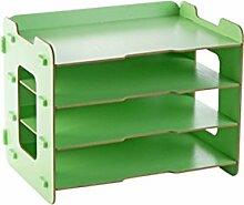 ASL Büro auf dem Tisch Aufbewahrungsbox Desktop Regal File Shelf Bücherregale Storage Rack Qualität ( Farbe : Grün )