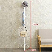 ASL Coat Rack Schlafzimmer Wohnzimmer Hanging Clothes Rack Landung Solide Holz Kleiderbügel Einfache Montage Regal Neu ( Farbe : Weiß )