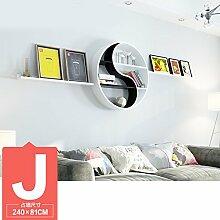 ASL Dekoration Regal, kreatives Faserplatten Schlafzimmer Wohnzimmer auf der Wand Regal Bücherregal Trennwand Wand Regal Klatsch mehr Modellierung Wand hängen (nicht inklusive Zubehör) Qualität ( größe : J )