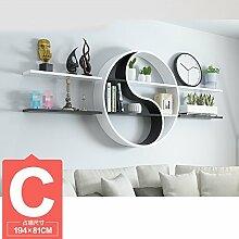 ASL Dekoration Regal, kreatives Faserplatten Schlafzimmer Wohnzimmer auf der Wand Regal Bücherregal Trennwand Wand Regal Klatsch mehr Modellierung Wand hängen (nicht inklusive Zubehör) Qualität ( größe : C )