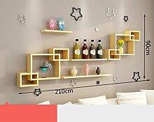 ASL Kreative Racks, einfache moderne Kombination Schlafzimmer Wohnzimmer Holz Kiefer TV Hintergrund Wand Free Punch Umweltstarke und dauerhafte Dekoration Qualität ( Farbe : C )