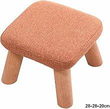ASL Quadrat gepolsterte Schemel, 4 Holz Beine Stuhl Hocker Leinen Stoffbezug, 28 * 28 * 20 cm Neu ( Farbe : #3 )