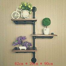 ASL Regal, Retro Pipe Wohnzimmer Wandmontierte Regal Wand Blume Rack Einfache Massivholz Kunst Lattice Shelf Study Qualität ( größe : B )
