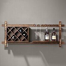 ASL Retro Eisen-feste hölzerne Wein-Zahnstangen-Wand-Regale, 121 * 37CM Wand-hängende Stab-Wand-Wein-Schrank-Rotwein-Schalen-Halter-kreative Hauptdekoration-Speicher-Zahnstangen-Regal-Wand-Dekoration Qualität ( größe : 121*37CM )