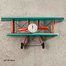 ASL Retro Flugzeug Modellierung Regal, kreative Eisen Wanduhr Home Bar Rack 67 * 33 cm Qualität ( Farbe : #1 )