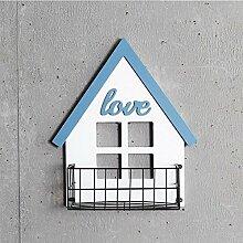 ASL Retro-Massivholz-Wand-Regal-Blumen-Zahnstange, Stab-Wand-Verzierungen Geschäft-Balkon-Speicher-Zahnstange-Kaffeetasse Wand-hängende Treppen-Gehweg-Zahnstange-Wand-Dekoration-Wohnzimmer-Schlafzimmer-Wand-hängende Verzierungen 31 * 40cm Qualität ( Farbe : #1 )