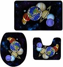 ASL Sockel und Badematte Set, kreative 3D Galaxy Wc-Matte dreiteilige Anzug Kombination von Matten Badezimmer Wasseraufnahme Teppich Osmanen sos ( Farbe : #4 )