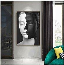 ASLKUYT Abstrakte Porträtmalerei Schwarz Und