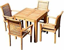 ASS Teak Set: Gartengarnitur Gartentisch 80x80 cm