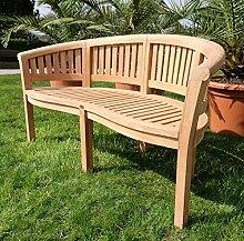 ASS Teak XXXL Bananenbank Gartenbank Parkbank Sitzbank 3-Sitzer Bank Gartenmöbel 150cm Holz Sehr Robust Model Coco von