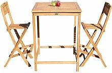 ASS XXL Bar-Set - Teak Bartisch Bistrotisch Stehtisch 80x80cm mit 2X Barhocker klappbar Holz BIMA-SET80+2KLAPP von