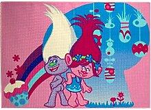 Associated Weavers Kids Corner 634084Fussbodenmatte Dekoration Trolle Cupcake Time Samt rosa blau 95x 133x 1.5cm