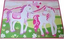 Associated Weavers Kinderteppich Teppich Kinderteppich Kinder Teppich Spielteppich Girl 07 White Horses rosa mit Pferde 80 x 120 cm ein muss für jeden Pferde Fan darf in keinem Kinderzimmer fehlen