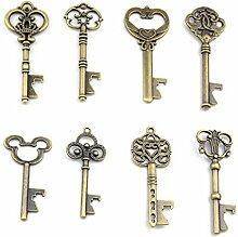 Assortiert 16 Antik Bronze Schlüssel Förmchen