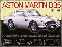 Aston Martin DB5 in silber 1960er jahre ikonisch auto und film stern Gesehen In James Bond Skyfall Und Goldfinger die had ejector seat Und hauptscheinwerfer Kanonen. Für zuhause, pub, benzin kopf, Film sammler, man höhle or ladestange / garage. Metall/Stahl Wandschild - 30 x 40 cm