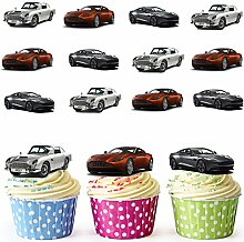Aston Martin-X 12 décorations comestibles en gaufrette pour cupcakes