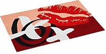 ASTRA 1674015002 Tür-/Fuß Matte, Fame Design Kussmund, 40 x 60 cm, rot / beige
