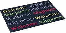ASTRA 1678040004 Tür-/Fuß Matte Style Design Welcome Goodbye, 50 x 78 cm, schwarz / bun