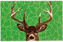 ASTRA 1695040001 Tür-/Fuß Matte Update Design Hirsch, 50 x 78 cm, grün