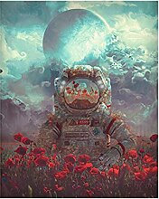Astronaut Blumenbild Leinwand Wandkunst Planet