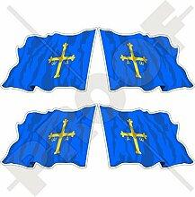 ASTURIAN asturisch Wehende Fahne SPANIEN Asturies