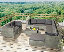 Asupermall - 10-Tlg. Garten-Lounge-Set Mit