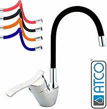 ATCO® Niederdruck Spültisch Armatur Küchenarmatur flexibler Auslauf Waschtisch Einhebel Wasserhahn Mischbatterie mit Brause Küche Spüle Boiler chrom-schwarz