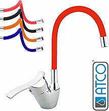 ATCO® Niederdruck Spültisch Armatur Küchenarmatur flexibler Auslauf Waschtisch Einhebel Wasserhahn Mischbatterie mit Brause Küche Spüle Boiler chrom-ro