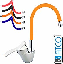 ATCO® Niederdruck Spültisch Armatur Küchenarmatur flexibler Auslauf Waschtisch Einhebel Wasserhahn Mischbatterie mit Brause Küche Spüle Boiler chrom-orange