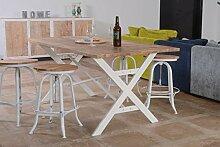Atelier weiß Esstisch, Metall und Holz, weiß
