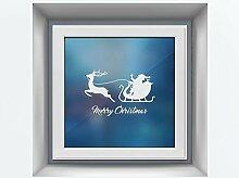 atFoliX Glasdekorfolie Merry Christmas Schlitten