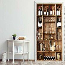 Atiehua Weinflaschenregal 3D Wallpaper Für Türen