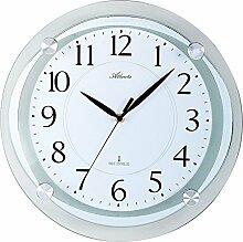 Atlanta Funk-Wanduhr modern lautlos mit schleichendem Sekundenzeiger, Durchmesser 35cm - Metall Glaselemente analoge Funkuhr Zeitanzeige